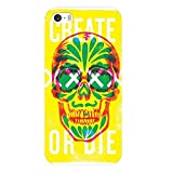 Coque Iphone 7 Plus Iphone 8 Plus Tete de Mort 13 Create Or Die Jaune Vert Fluo