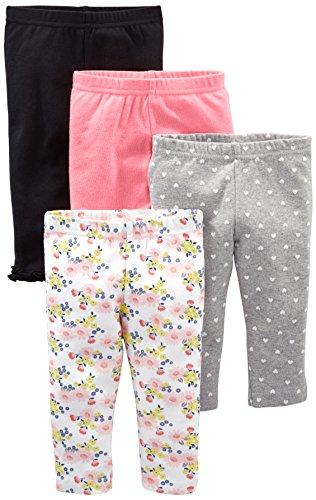 Simple Joys by Carter's Baby Mädchen Hose, 4er-Pack ,Schwarz/Bright Pink/Gray Dot/Floral ,3-6 Months