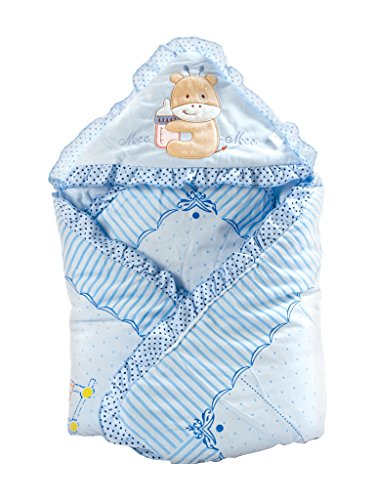 Mee Mee Baby Warm Wrapper Cum Blanket with Hood (Blue)  available at amazon for Rs.839
