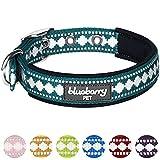 Blueberry Pet Halsbänder für Hunde 2cm M 3M Reflektierendes Hundehalsband in Petrol-Blau mit Jacquardmuster