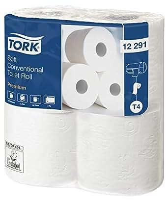 TORK 12291 Papier toilette rouleau traditionnel doux T4, 25,7 m x 9,7 cm - Vendu par 6 paquets de 4 rouleaux