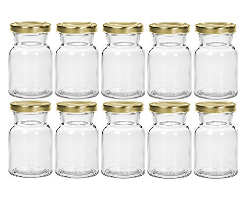 hocz Gewürzgläser Set mit Drehverschluss   10 teilig   Füllmenge 150 ml   Deckelfarbe Gold Rund Hochwertiges Glas   Glasdose Glasgefäß für Salz Pfeffer Sonnenblumenkerne kürbiskerne Kandis Bonbons Spice Jar Set