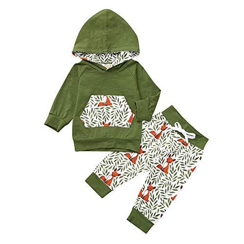 g, Unisex Kleinkind Baby Kleidung Winter Strick Fox Drucken Kapuzenpullover Sweatshirt Langarmshirt Tops Hoodies Outfits + Baumwolle Lange Hosen Kleidung Set ()