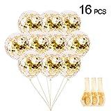 jijAcraft 16 Stücke 12 Zoll Konfetti Luftballons mit Konfetti Punkte für Party Dekorationen (Gold)