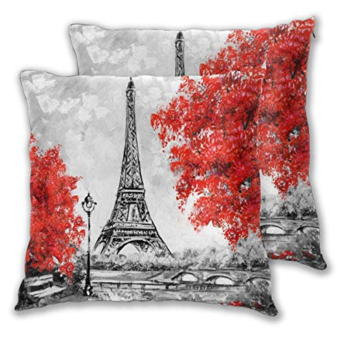 Eanijoy Kissenbezug, Throw Pillow Cover Oil Painting Paris Eiffel Tower France City Landscape Black White and Red Tree Home Decoration Soft Pillow Cases Set of 2 for Sofa/Couch/Car/Bed 22