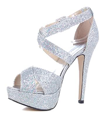 Damen Pumps - High Heel - Knöchelspange - Peep Toe - Plateau - Party Schuhe - Silber 41
