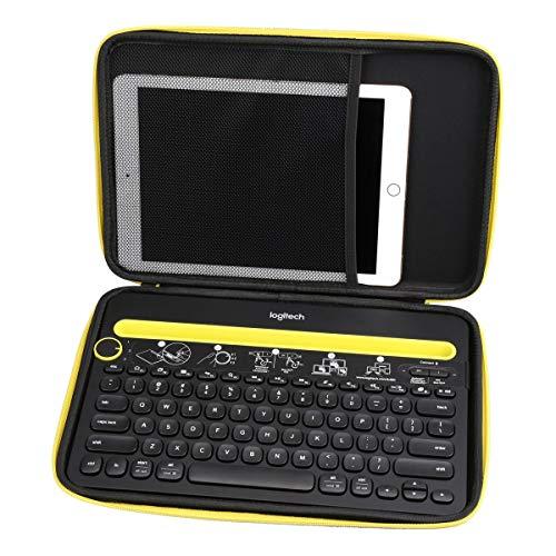 Aproca Hart Schutz Hülle Reise Tragen Etui Tasche für Logitech K480 kabellose Bluetooth-Tastatur (Black with Yellow Zipper)