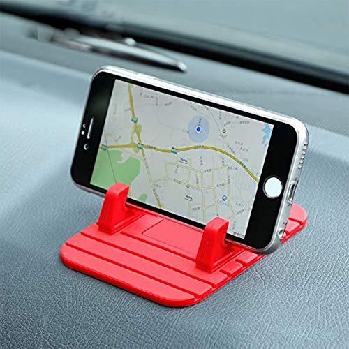 XFZK Autotelefonhalter, Autohalterung Handyhalter Stehen GPS Weiche Silikon Anti Slip Mat Desktop Ständer Halterung (größe : Rot)
