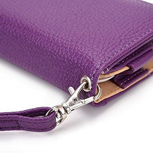 Kroo Pochette Téléphone universel Femme Portefeuille en cuir PU avec dragonne compatible avec SHARP Aquos cristal/XX Multicolore - Orange Stripes Violet - violet