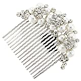 Daisy Treasure Austrian Crystal and Pearl Bridal Hair Comb Clip Bild
