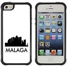 STPlus Málaga, España Postal con silueta del horizonte de la ciudad Carcasa Funda de Caucho Blando A Prueba de Choques Para Apple iPhone SE / 5 / 5S