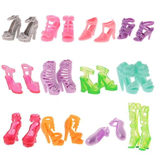 MagiDeal 12 Pairs Party Daily Wear Dress Clothes Match Shoes Sandal For Barbie Doll for Barbie Doll Dresses Clothes  available at amazon for Rs.200