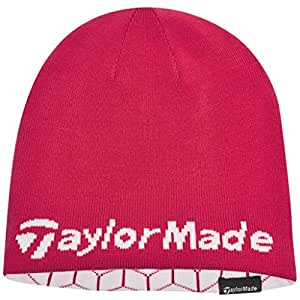 2015 Ladies TaylorMade Reversible Thermal Golf Beanie Double Knitted Womens Hat Pink/White