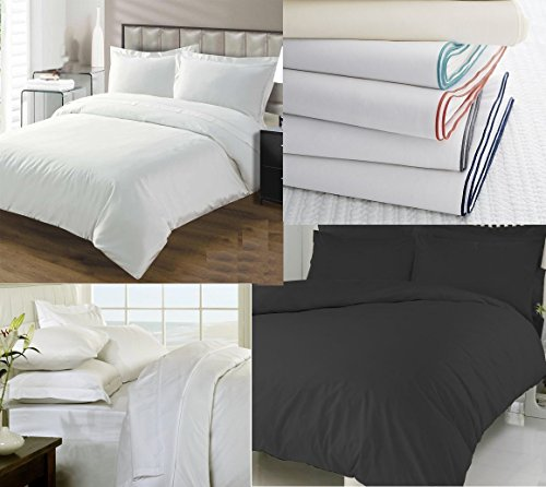 [hachette] 2PC 200TC [PLAIN BLACK/SINGLE SIZE] 100% EGYPTIAN COTTON DUVET COVER BEDDING BED DUVET SET WITH PILLOWCASES 200 THREAD COUNT