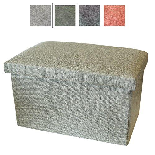 Piccola scatola contenitore con coperchio - Sgabello da piedi / Pouf contenitore - Scatole in tessuto - Handy Box di Luxelu - Rettangolare - Verde Oliva