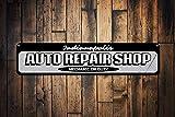 Auto Repair Shop Schild, personalisierbar, Garage Standort City Schild Custom Mechanic On Duty Schild Man Cave Decor – Hochwertiges Aluminium 10,2 x 45,7 cm