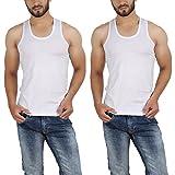 Wyatt Men's Cotton White vest (Pack of 2...
