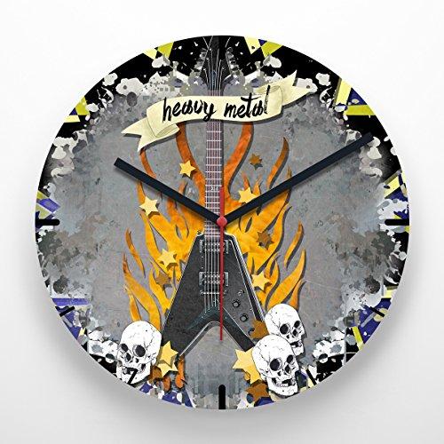 Reloj de pared 30 cm con ilustración guitarra heavy metal