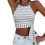KEERADS T-Shirt Damen Sommer Bauchfrei Trägerlos V-Ausschnitt Streifen Crop Tops Oberteile Bluse (L, Grau)