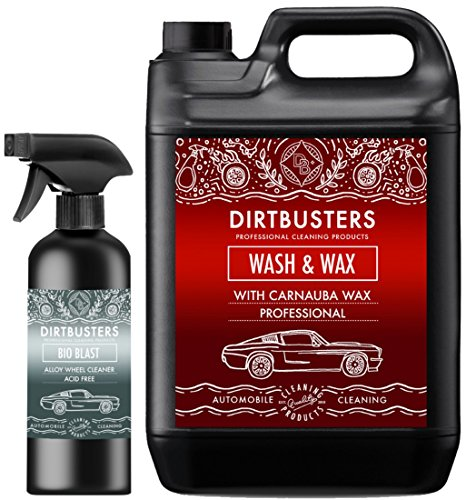 Dirtbusters Profi-Autoreiniger mit Hochwertigem Carnaubawachs und Alufelgenreiniger für streifenfreie Fahrzeugreinigung, WaschenundWachsen Shampoo 1 x 5Liter. ergibt 1000Liter Reinigungslösung - Acid-wash Finish