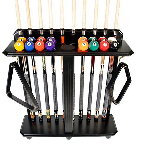 Iszy Billiards Queue Rack nur-10Pool-Billard Stick & Ball Set Boden-Ständer wählen Sie Mahagoni, schwarz oder Eiche Finish, schwarz