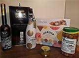 """Lote 23 - Aceite Oliva V.E., Olivas Sabor Piminento, Caviar de Aceite, Sangría Lolea Brut, Galletas Biscuits """"Border"""" y Catánias chocolate blanco"""