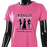 Damen T-Shirt für den Junggesellenabschied mit Motiv Atemlos - MEINE letzte Nacht in Freiheit (Frauen/Braut) in pink, Größe XXL