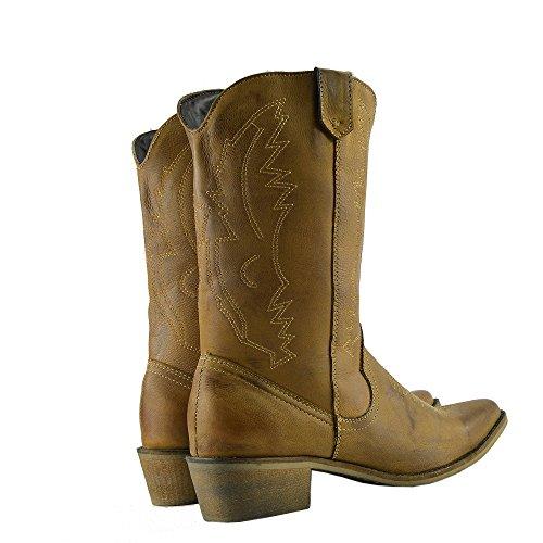 Donna Occidentali in Pelle Stivali da Cowboy Punta Ladies Ampia del Polpaccio Stivali Tan