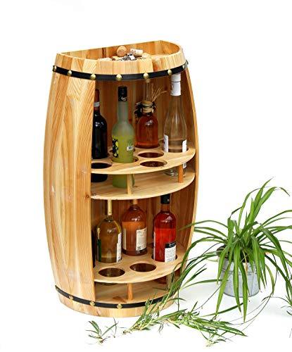 DanDiBo Weinregal Holz Weinfass Naturholz Halbrund 83 cm 9001 Bar Flaschenregal Flaschenständer XL Fass Holzfass Natur Weinschrank
