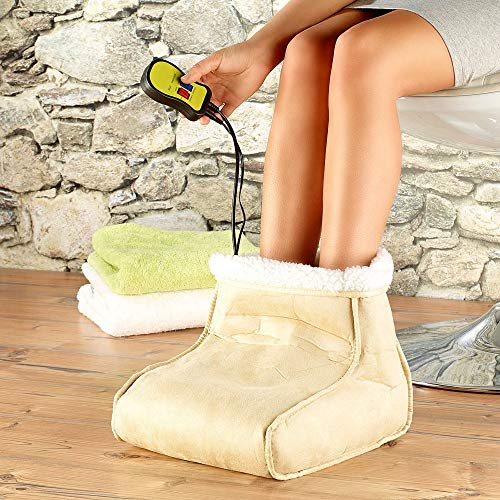 Monsterzeug Elektrischer Fußwärmer mit Massage, Fußmassage Wärmfunktion 2in1, Wellness Gerät Massagefunktion, wärmendes Fußmassagegerät