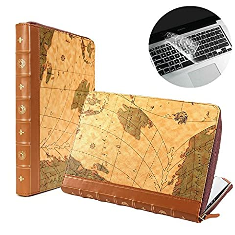 Se7enline® (2 in 1) Macbook 13 Zoll PU Leder Schutzhülle im Weltkarte-Stil, Reißverschluss Clip-On-Schutzhülle PU Leder Sleeve Tasche Hülle für Macbook Pro(mit CD-Rom) 13 Zoll Modell A1278 + Klar TPU DE Design (QWERTZ) Tastatur Schutzhülle -