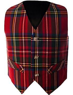 Boys Waistcoat, Silk Back Adjustable buckle Royal Stewart Tartan 7 year