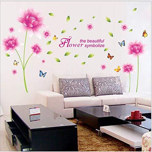 e Aufkleber Stimmung Spielzeug Wanddekoration leuchtet Schlafzimmer Türen Kinderzimmer und Schlafzimmer, rosa Lotus 60 * 90 ()