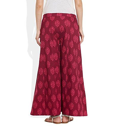 Baumwolle bedruckt Palazzo-Hose für Frauen Indian HIMBEERE 1