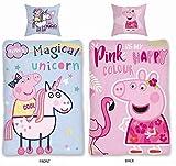 Sky Brands Peppa Pig Peppa Pig–Juego de Funda nórdica tamaño 135x 200cm 80x 80cm, 100% algodón, 2diseños Unicorn Unicornio/Flamenco Rosa