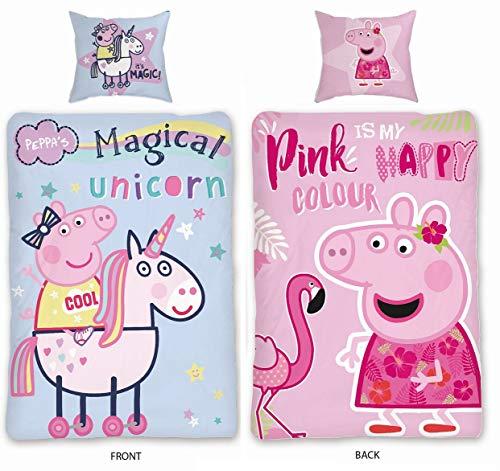 Sky Brands Peppa Wutz Bettwäsche 135×200 cm + Kissen 80×80 Mädchen cm Pink, Lila, Rosa und Blau Flamingo Einhorn Sterne, Baumwolle 100%, PEPPA PIG