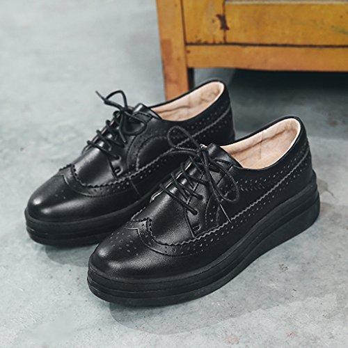 HWF Chaussures femme Chaussures de plate-forme de printemps Bottines épaisses pour femmes Bullock Chaussures de cuir occasionnelles simples Femme ( Couleur : Beige , taille : 37 ) Noir
