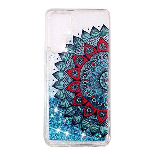 Miagon Flüssig Hülle für Huawei P30 Pro,Glitzer Weich Treibsand Handyhülle Glitter Quicksand Silikon TPU Bumper Schutzhülle Case Cover-Blau Mandala Blume