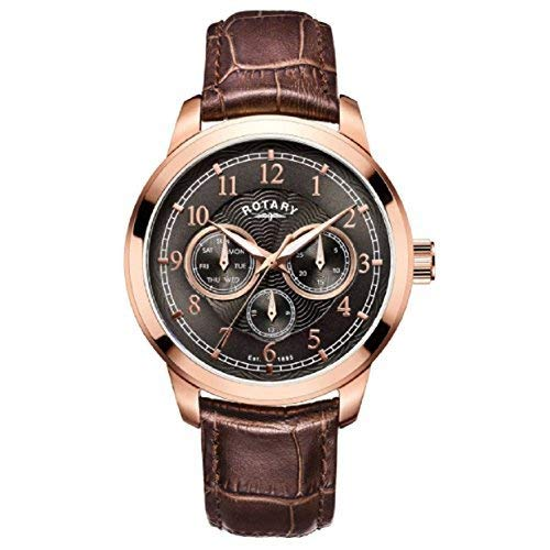 Hommes Rotary Marron Or Rose Analogique Quartz Montre A Bracelet en Cuir Marron GS00631/20