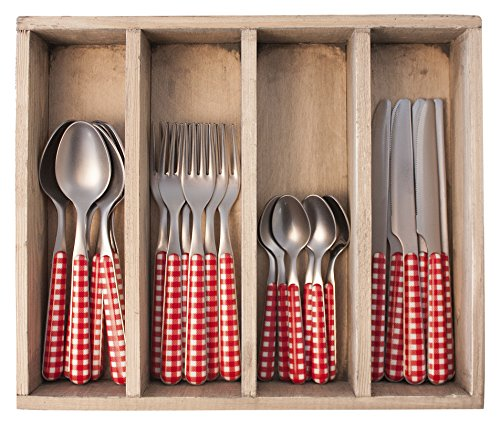 Provence à Carreaux dîner Ensemble de Couverts en Acier Inoxydable, bac, Rouge, 33.5 x 29.5 x 6.5 cm
