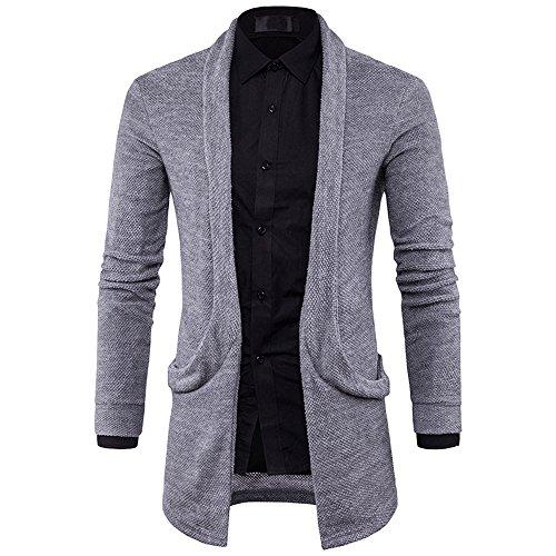 Xmiral Herren Jacke Slim Fit Gestrickter Pullover Mode Solide Lange Thin Mantel (XXL,Grau)