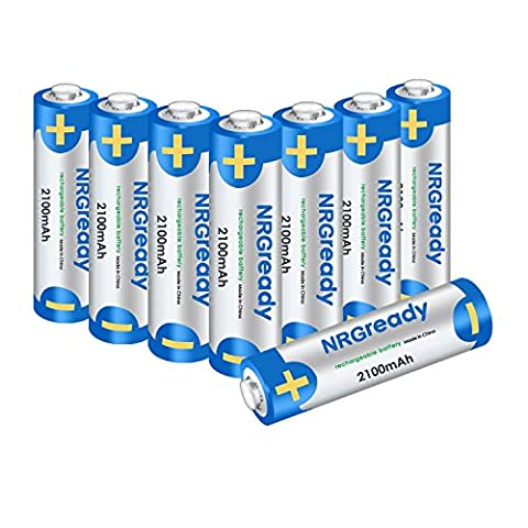 NRGready AA 2100mAh Rechargeable Batteries High Capacity Ni-MH Pre-charged Batteries