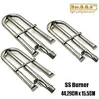 Bar.b.q.s 10191 (paquete de 3) Sustitución de piezas de la parrilla de gas Tubos de acero inoxidable tubo del quemador de llama para Perfect Lowes 3019L, 3019 GNL; Llama perfecta 3019L, Llama perfecta 3019 GNL