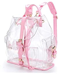 mochilas mujer Sannysis Bolsa de viaje de plástico transparente color rosa