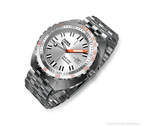 DOXA SUB 1500T searambler II Herren Automatik Armbanduhr mit Silber Zifferblatt Analog-Anzeige und Silber Edelstahl Armband 881.10.021.10