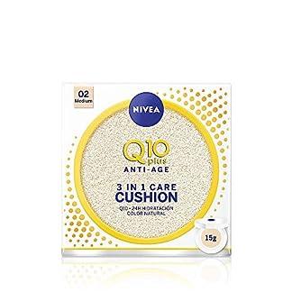NIVEA Q10 3en1 Cushion, Perfeccionador Facial Hidratante y Antiedad con Protector Facial,  Tono 02 Medio – 15 gr