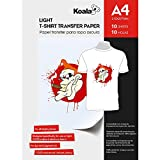 KOALA Inkjet Iron On T Shirt Transfer Paper for Light Fabrics 10/100 Sheets