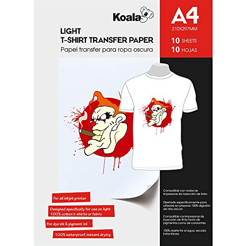 KOALA Inkjet Iron On T Shirt Transfer Paper for Light Fabrics x 10 Sheets, A4