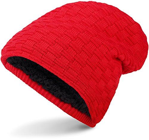 Warme Feinstrick Beanie Mütze mit Flecht Muster Grobstrick und sehr weichem Innenfutter, Unisex (Red) (Grobstrick-mütze)