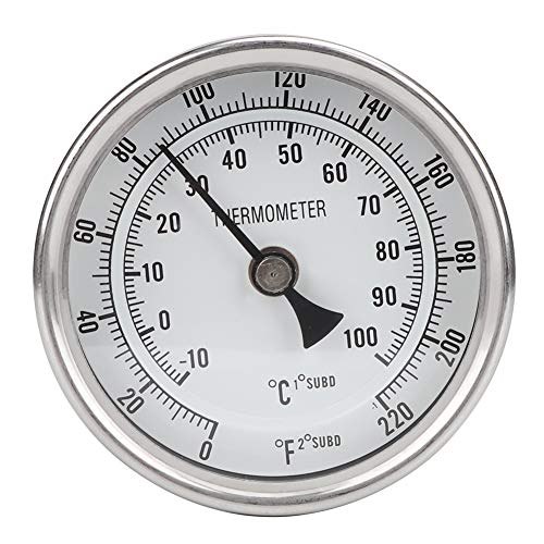 Aiggend Topf-Thermometer, 1/2NPT Edelstahl-Metallbierthermometer Topf-Thermometer zum Brauen von Bier